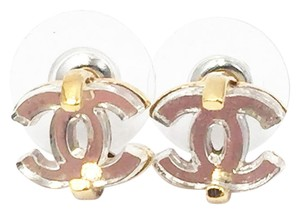 Chanel Authentic Chanel Gold CC Mirror Piercing Earrings