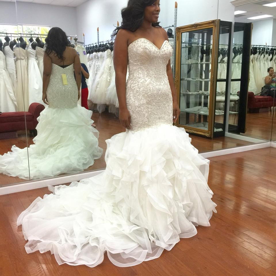 Allure bridals ivory sexy wedding dress size 12 l tradesy for Best wedding dresses for size 12