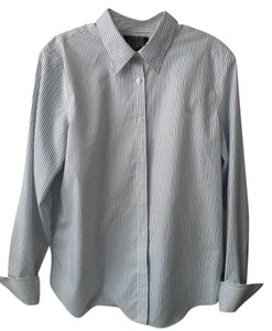 Ralph Lauren Cuffed Sleeve Non Iron Button Down Shirt White with blue/black pinstripes