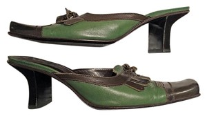 Prada Leather Tassel Loafer Brown and Green Mules