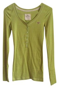 Hollister Button Longsleeve Cotton Henley T Shirt Green