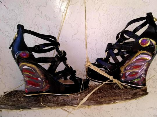 Guess Hand Painted Artisan Black Wedges Image 1