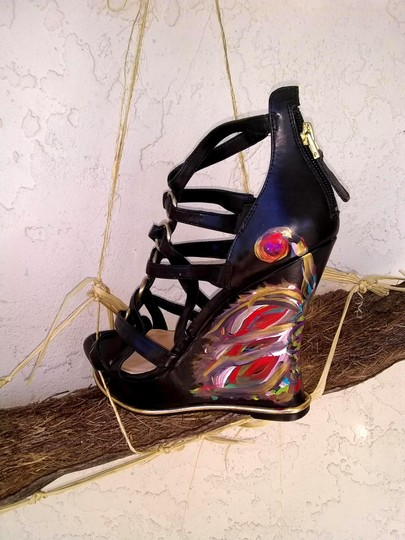 Guess Hand Painted Artisan Black Wedges Image 3