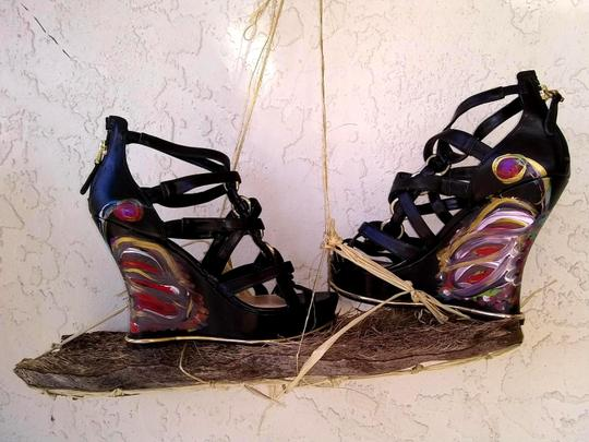Guess Hand Painted Artisan Black Wedges Image 7