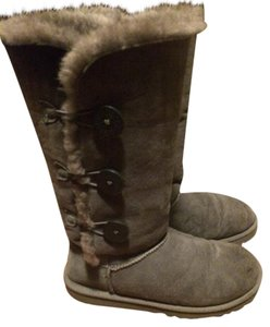 UGG Australia Button Sheepskin Comfortable Versitile Grey Boots