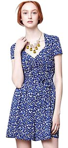 Anthropologie Floral Blue Leifnotes Dress