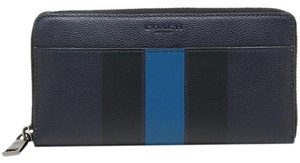 Coach NEW COACH men's striped leather zip around phone long wallet Navy