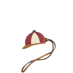 Hermès Charm Paddock Bombe BASEBALL CAP Natural Sable Charm Brown Rouge red