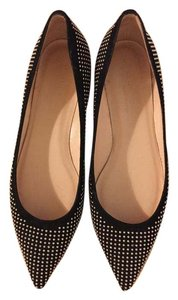 Club Monaco Flat Studded Pointed Toe Black and Gold Flats