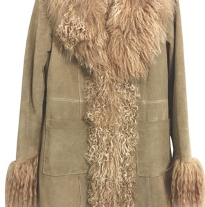 Other Shearling Suede Quilted Lining 70s Vintage Look Fur Coat