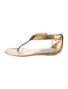 Jimmy Choo Flats Python Metallic Gold Sandals