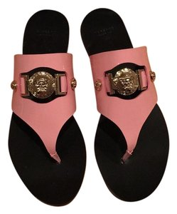 Versace Patent Leather Flat Elegant Classic Pink and gold Sandals