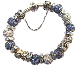 PANDORA Pandora Pave Lights Blue Charms Sterling Silver Bracelet
