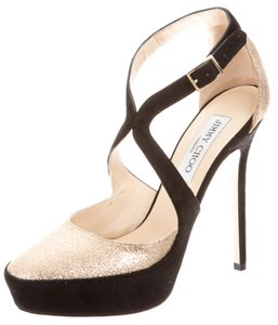 Jimmy Choo Tulip Platform Glitter Suede Round Toe Black, Gold Pumps