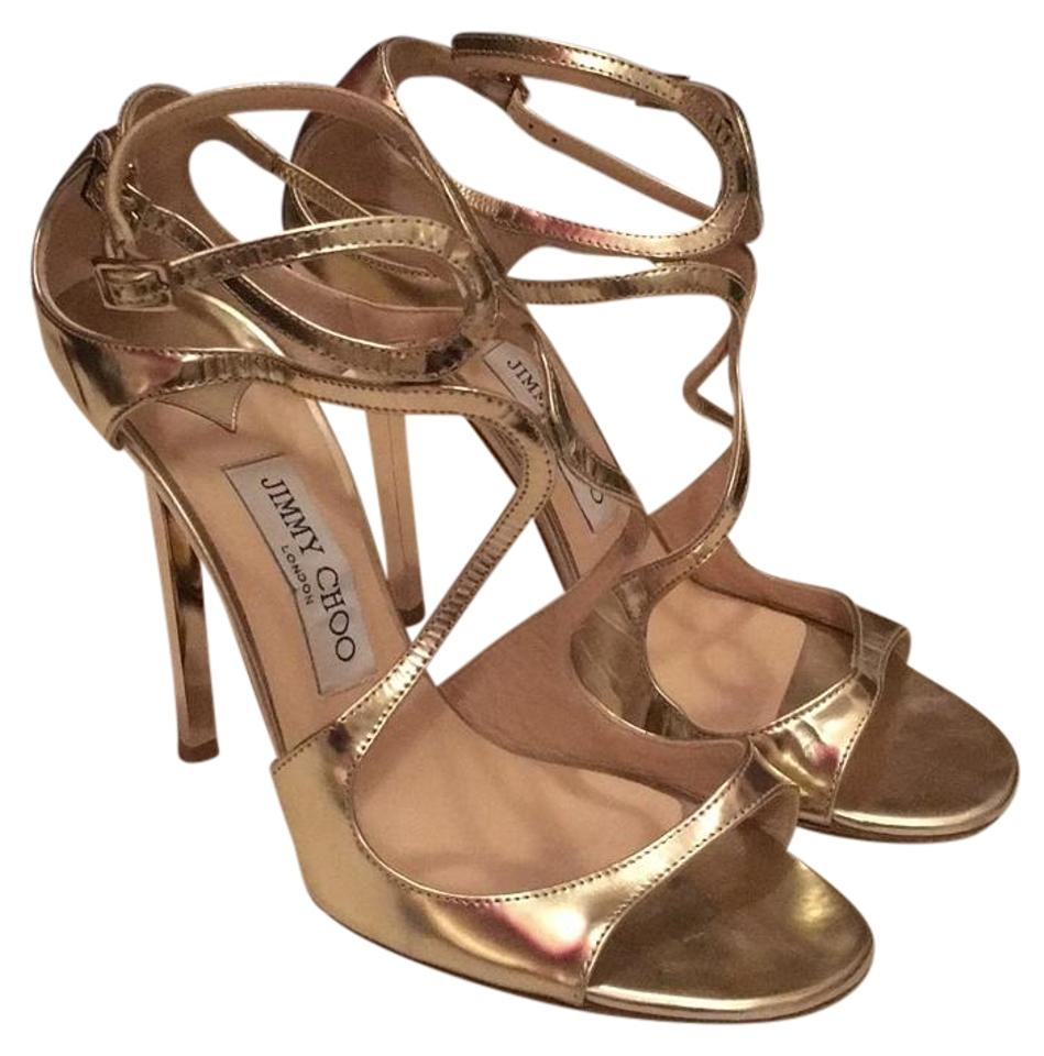 4fcf05fc3d37 Jimmy Choo Gold Lang 100 Strappy Mirror Leather Sandal 38.5 Formal Shoes