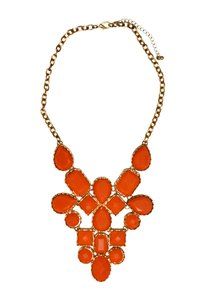 Francesca's Francesca's Statement Necklace - Orange Beads with Gold Settings
