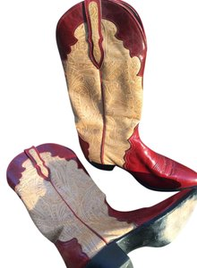 Larry Mahan Cowboy Boot Red and beige Boots