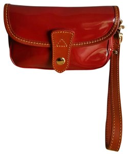 Dooney & Bourke Patent Leather Leather Wristlet in Red (Cherry), Saddle
