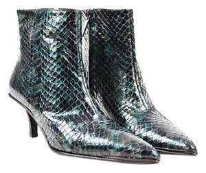 Gucci Chocolate Brown Python Iridescent Pointed Ankle Green Boots