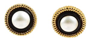 Chanel Vintage Chanel Black Gold Tone Faux Pearl Resin Post Earrings