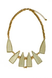Francesca's Francesca's Statement Necklace - Pale Green Beads in Gold Setting