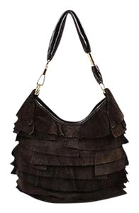 Saint Laurent Yves Suede Ruffle Tropez Shoulder Bag