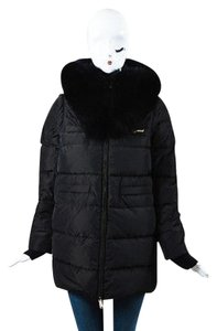 Dsquared2 Black Puffer Fox Coat