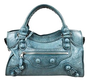 Balenciaga Gray Leather Perforated Trim Giant Covered Brogues City Tote in Blue