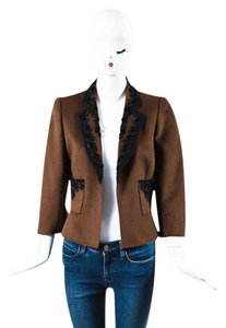 Oscar de la Renta Oscar De La Renta Brown Black Fur Knit Floral Embroidered Blazer Jacket