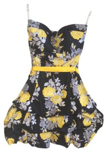 Speechless Floral Ruching Sweetheart Bow Spring Summer Strapless Print Waistband Dress