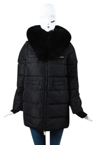 Dsquared2 Black Fox Fur Hood Long Sleeve Two Way Coat