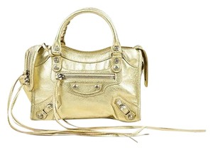 Balenciaga Metallic Satchel in Gold