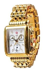Michele Michele Gold Plated Stainless Steel Diamond Signature Deco Chronograph Watch