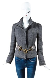 Gucci Gray Wool Horse Bit Belted Black Jacket