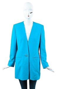 Louis Feraud Vintage Louis Feraud Teal Blue Virgin Wool Single Logo Button Blazer