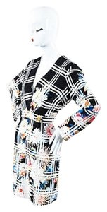 Roberto Cavalli Black White Floral Print Ls Dress