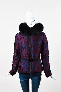 Burberry Navy Jacquard Floral Embroidered Fox Fur Hood Coat