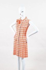 Chanel Orange White Tweed Sl Shift Dress
