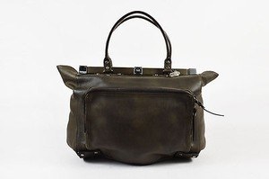 Lanvin Olive Brown Leather Frame Double Handle Tote in Green