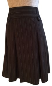 Pleated Pinstripe Skirt Black
