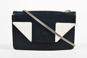 Saint Laurent Black Off White Leather Chain Link Small Betty Cross Body Bag