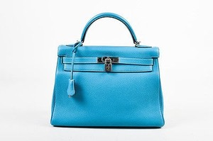 Hermès Jean Silver Tone Clemence Leather Kelly Retourne 32cm Satchel in Blue