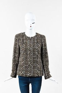 Chanel 04a Olive Green Brown Navy Wool Sequined Tweed Zip Up Multi-Color Jacket
