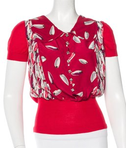Louis Vuitton Cashmere Crystal Top Red, White