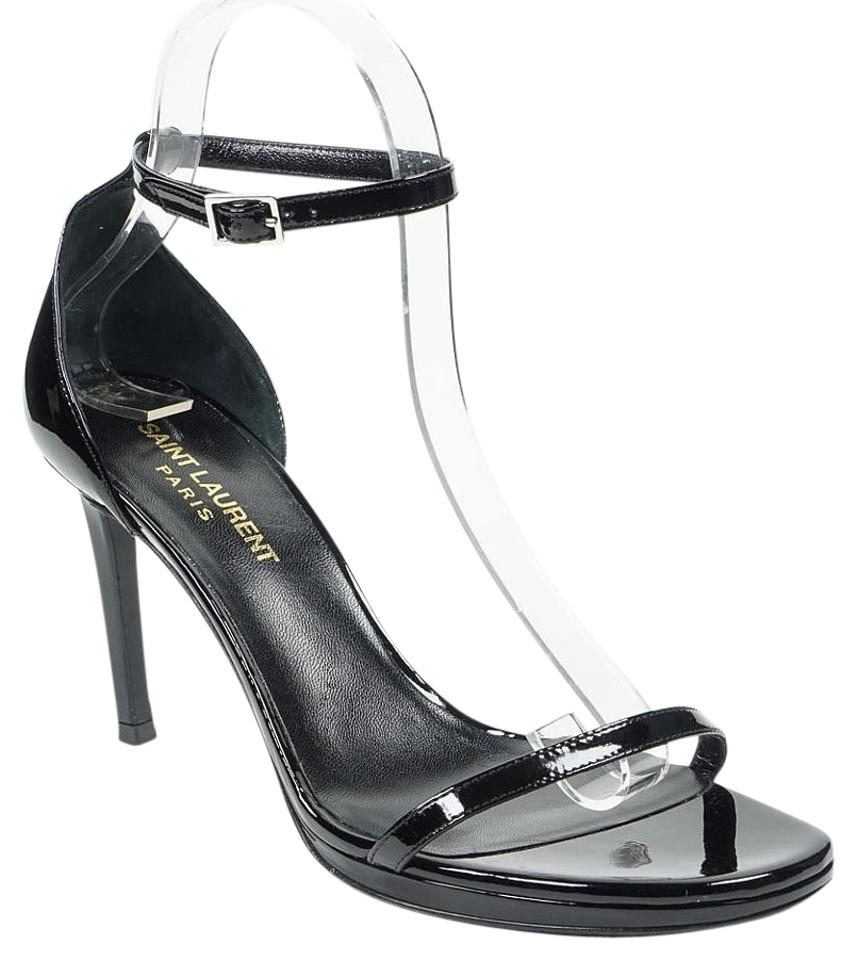 8c25066e9fa Saint Laurent Black Jane Ysl 38 7.5 Patent Leather Ankle Strap Heel Sandals.  Size  US 7.5 Regular (M ...