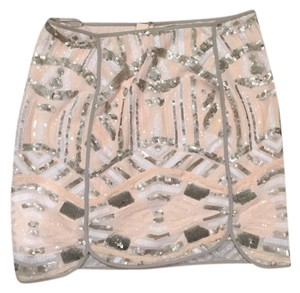 Anthropologie Mini Skirt Pink, Grey, White