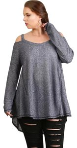 Umgee Thermal Off Shoulder T Shirt Navy