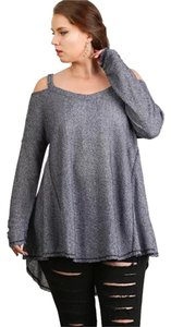 Umgee Off Shoulder Thermal Knit T Shirt Navy