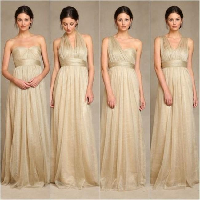 Item - Gold Metallic Tulle Annabelle Formal Bridesmaid/Mob Dress Size 12 (L)