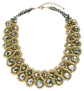 Statement Two tone Necklace and with matching Earrings Set